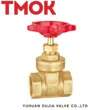 DN20 full port cast iron brass color double internal thread full open with handle wheel brass gate valve