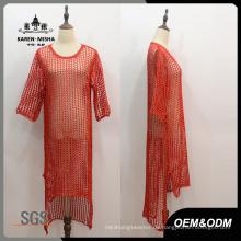 Frauen Rot Halbe Hülse Hi-Lo Hem Kleid