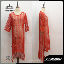 Vestido de mujer dobladillo rojo medio manga Hola