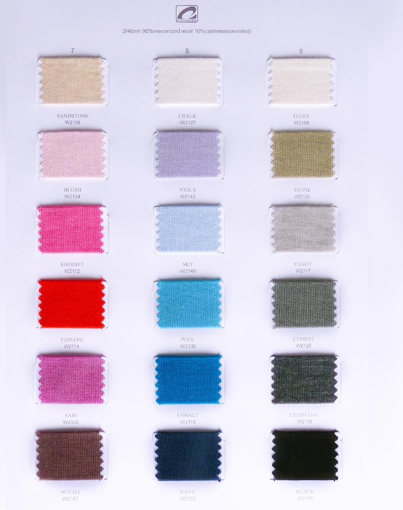 90% merino wool 10% cashmere yarn