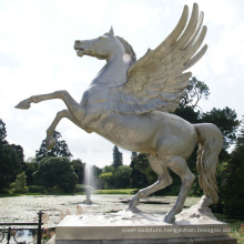 High quality park decoration bronze horse with wings statue