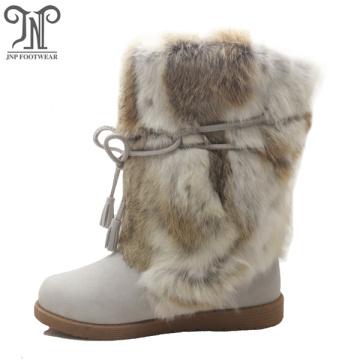 Fashion winter sheepskin furry leather Mid-Calf flat boots