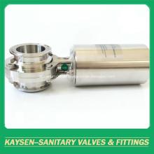 Válvulas de mariposa neumáticas higiénicas fijadas 3A / SMS / ISO / IDF