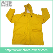 Yj-1056 Mens Waterproof Hooded Yellow Rain Jacket for Womens Raincoat