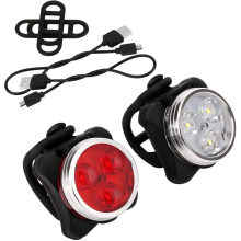 USB Rechargeable Front White Bicycle Light Waterproof 4 Modes Bike Red Tail LED Light Set Bicycle Light