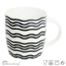 12oz Ceramic Mug with Waves Decal Design