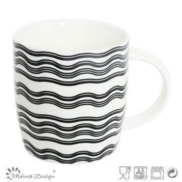 Taza de cerámica de 12 onzas con diseño de etiqueta de ondas