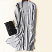 Camisola longa da mulher do casaco de lã da camisola da caxemira da mola PK18ST099