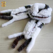 Moda 2016 piel de conejo auténtico hecha punto bufanda de las mujeres con la borla del ajuste de la piel