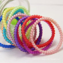 Elastic Spiral Telephone Wire Soft Ring Waterproof Plastic Hairbands (JE1572)