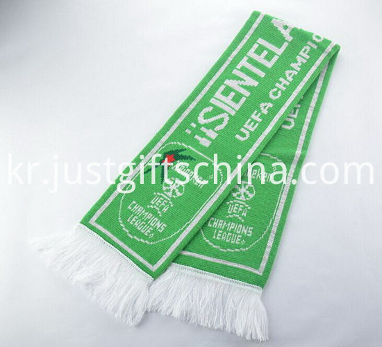 Promotional Green Color Printed Knitted Scarf1