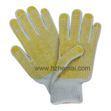 Knitted Polycotton Gloves Safety Work Glove PVC Dotted Both Sides
