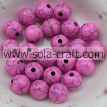 Cool Necklace Rose Color Round Acrylic Gumball Cracked Effect Beads