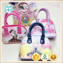 Una pieza encantadora dibujos animados patrón de bolsos, niñas bolsas de mano con amarillo / rosa bolsos de mano niñas personajes de una pieza al por mayor