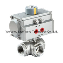 Stainless Steel Pneumatic Three Way Ball Valve with Limit Switch