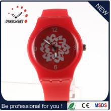 Red Charm Round Watch Head Silicone Watch (DC-996)