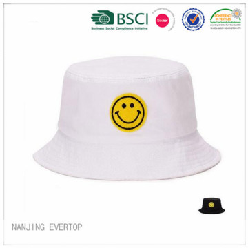 Cheap Light Weight Cotton Bucket Hat with Smile Patch