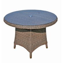 Mesa de comedor de muebles de mimbre al aire libre patio jardín de mimbre redonda