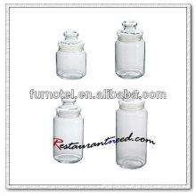 Frasco de vidro redondo D222 com tampa