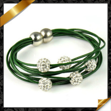 Fashion Design Beaded Leather Bracelet with Magnetic Beads (FB084)