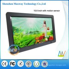16: 9 résolution 1366x768 mince 15,6 pouces noir cadre photo numérique HD avec détecteur de mouvement