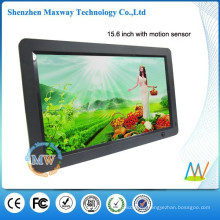 16:9 resolution 1366x768 slim 15.6 inches black HD digital photo frame with motion sensor
