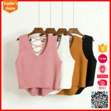 Neue Art und Weise stricken Muster Pullover V Ansatz Frauen stricken Weste ärmellos