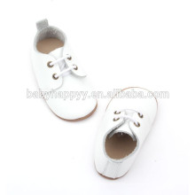 Hot Selling genuine leather plain white baptism baby shoes