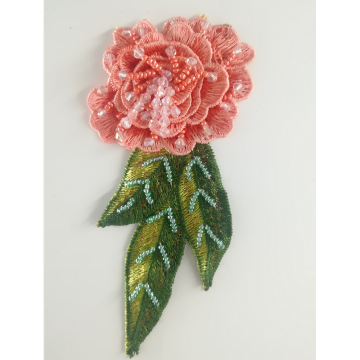 Rose Handmade Beaded Broderi Patch