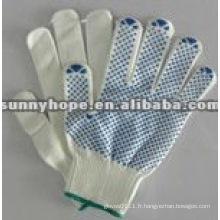 Gants pointillés en PVC pour la protection