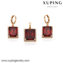 64144 xuping fashion newest designs simple good looking big ruby zircon stone gold plated jewelry sets