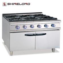 Cocina de funcionamiento comercial libre profesional del rango de cocción de gas al por mayor Gama de gas de 6 quemadores