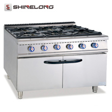Chaîne de cuisinière à gaz commerciale professionnelle debout libre en gros 6 brûleurs gamme de gaz