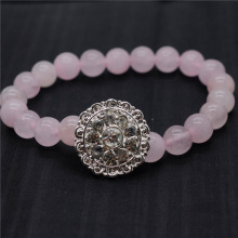 Rose Quartz 8MM Round Beads Stretch Gemstone Bracelet with Diamante alloy Piece