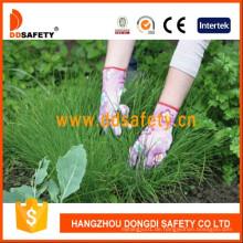 Rosa Nylon Blume Design Shell Transparente Nitrilbeschichtung Handschuhe Dnn358