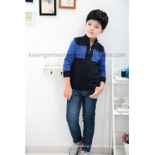 1/4 Zipper Ribbed Quilt Contrast Coloured Boys Sweater Stock