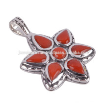 Coral and 925 Sterling Silver Flower Pendant