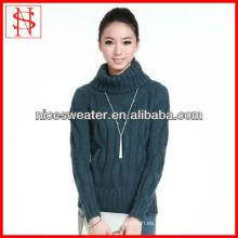 señoras pesado invierno cuello alto tejido de punto jersey de punto suéteres gruesos