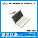 Hot Sale Custom Logo Metal Keychain Silver Plating Notebook Computer Shape Keychain