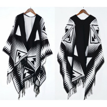 Womens Cashmere Feel Geometry Printing Fancy Cape Stole Poncho Shawl (SP308)