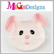 Low Price Rabbit Ceramic Jewelry Dish with Hand-Printing