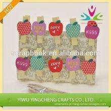 Apple em forma de madeira decorativa da produto clipes novo clip 2016 moda Natal alibaba china fornecedor