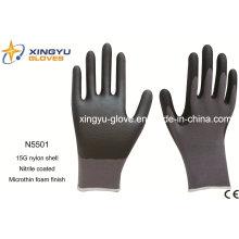 Luvas de trabalho de segurança de espuma de microthin revestidas com nitrilo de náil com nylon (N5501)
