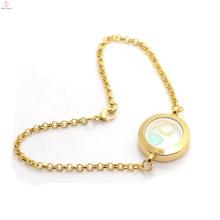 La foto de la memoria de acero inoxidable de oro liso que flota medallones flotantes pulsera colgante al por mayor