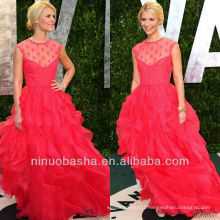 Fuchsia Lace Jewel Sleeveless Ball Gown Ruffle Sweep Train Red Carpet Celebrity Dresses Evening Gowns