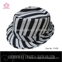 black and white striated fedora hat zebra hats for party fashion unique design