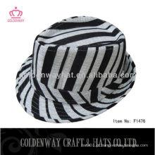 Chapéus de zebra com chapéu de fedora striated preto e branco para design exclusivo de moda de festa