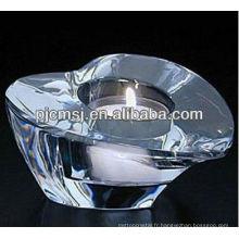 Support transparent de bougie de cristal de coeur en cristal pour des faveurs de mariage