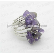 Amethyst chip stone wrap rings
