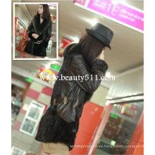Fah010 OEM venta al por mayor de piel de prendas de vestir de piel de ropa de conejo de piel de visón de piel de ropa chaqueta de piel